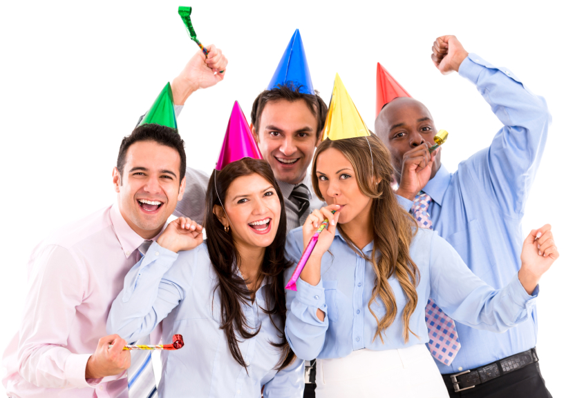 Happy business group having a party  and celebrating - isolated over white